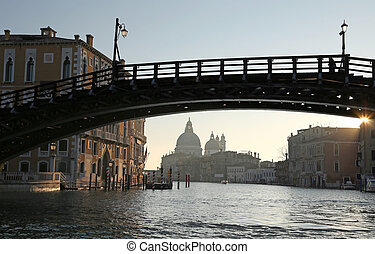 ancient wooden bridge in Venice Italy called Ponte della...