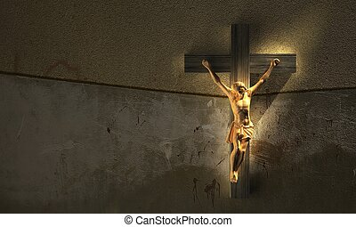 Jesus Christ on cross - But he was wounded for our...