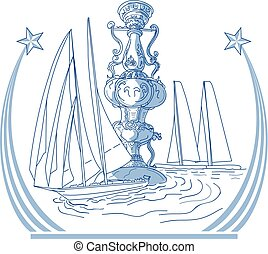 Yacht Club Racing Trophy Cup Drawing - Drawing sketch style...