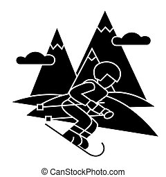 travel winter, skier skiing high mountains icon, vector...