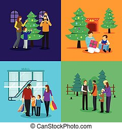 People Celebrating Christmas Clipart Illustration - A vector...
