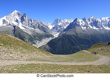 Mont-Blanc massif, France - View of the Mont-Blanc massif...