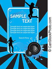 music poster blue vector eps8