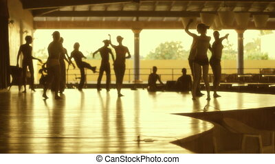 Dance - Silhouette Of Dancers Rehearsing For A Show