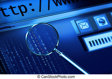 web page - internet scanning with magnifying glass
