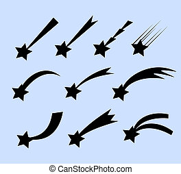 Falling stars set. Shooting stars isolated from background....