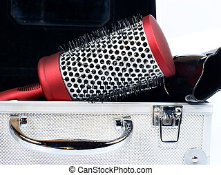 red round comb, case and hairdryer
