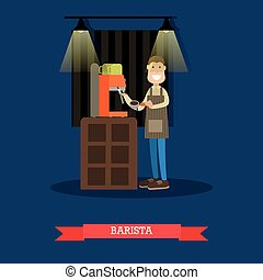Barista making coffee vector illustration in flat style -...