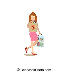 Mother with purchases concept vector illustration in flat...