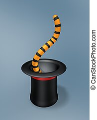 magic hat with tiger tail on blue background