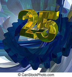 twenty five - golden number twenty five in techno space - 3d...