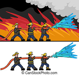 Three Firefighters - Three diverse male and female...