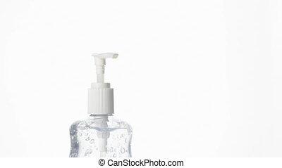 Hand Sanitizer Gel - Woman Using Antibacterial Hand...