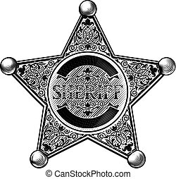 Sheriff Star Badge Etched Style - Sheriff star shaped badge...