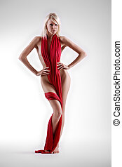 Implied nude - Beautiful woman naked with red material...