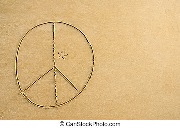 Peace sign - A peace sign written on the beach