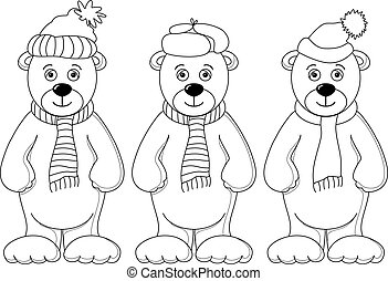 Teddy bear in winter costume, set, contours