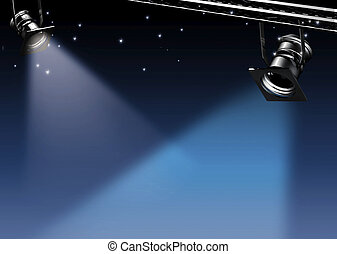 Midnight - Two spots of light on a dreamy blue background