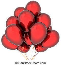 Birthday balloons colored deep red