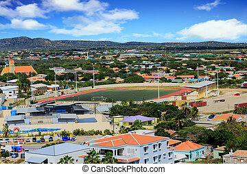Soocer Field on Bonaire - Colorful buildings on the island...