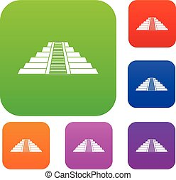 Ziggurat in Chichen Itza set color collection - Ziggurat in...