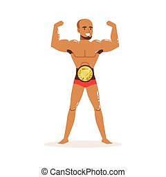 Cartoon muscularity wrestler posing with championship belt -...