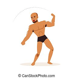 Cartoon character of wrestler in fighting action....