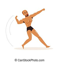 Mixed martial artist in fighting action - Cartoon character...