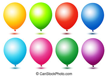 colorful ballons - illustration of colorful ballons on white...