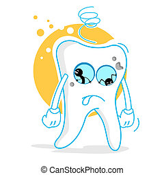 sad teeth - illustration of sad teeth on white background