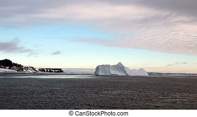 Icebergs in Antarctica at Dusk
