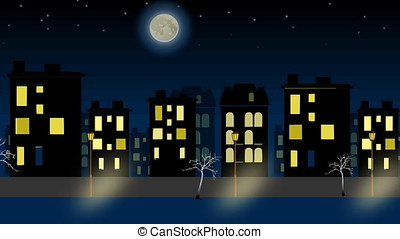 Moving simple night city panorama with moon