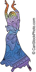 Oriental dancer with transition colors - Vector Oriental...