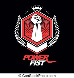 Vector emblem created using clenched fist of a strong man,...