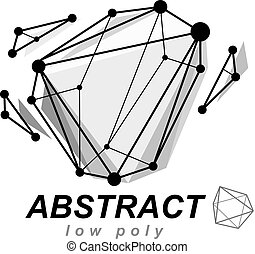 Abstract three-dimensional shape, vector design element....
