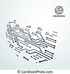 Vector abstract technology illustration with circuit board....