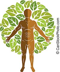 Vector illustration of human, athlete surrounded by eco...