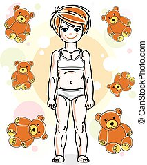 Little red-haired girl toddler in underwear standing on...