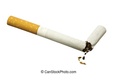 Quit Smoking - Broken cigarette isolated over white - Quit...