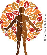 Vector graphic illustration of muscular human, self created...
