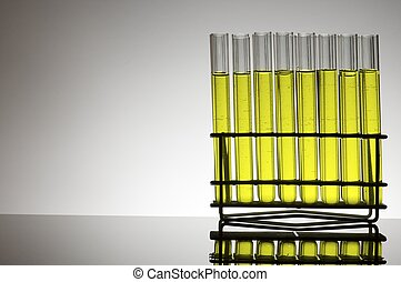 lab - group of test tubes with yellow fluid