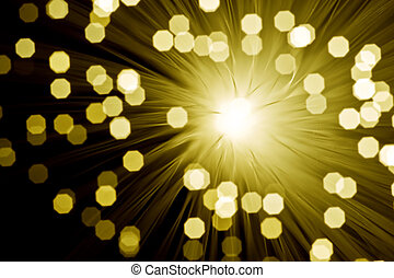 Fibre optic broadband technology concept blurred bokeh background with explosion effect