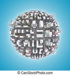 3d City planet concept