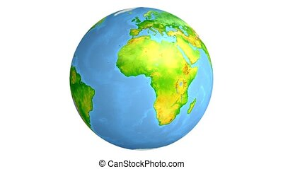 Earth. Globe. World map. Isolated on white background. 3d...