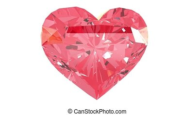 Red heart gemstone. Isolated on white background. 3d render...
