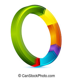 colorful pie chart - illustration of colorful pie chart on...