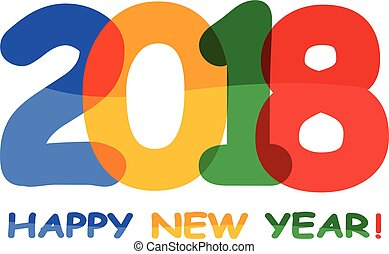 Vector 2018 Happy new year text for posters, calendars, ect....