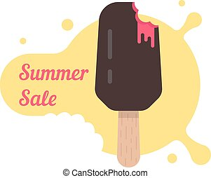 summer sale with popsicle. concept of creame ice lollies,...