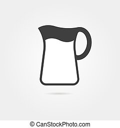 black pitcher with milk and shadow. concept of kitchenware,...