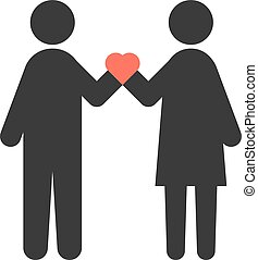 loving couple with heart in crossed hands. concept of...
